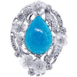 18K White Gold 0.70 ct Diamond Turquoise Womens Ring