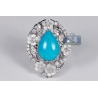 Womens Diamond Turquoise Ring 18K White Gold 0.70 ct