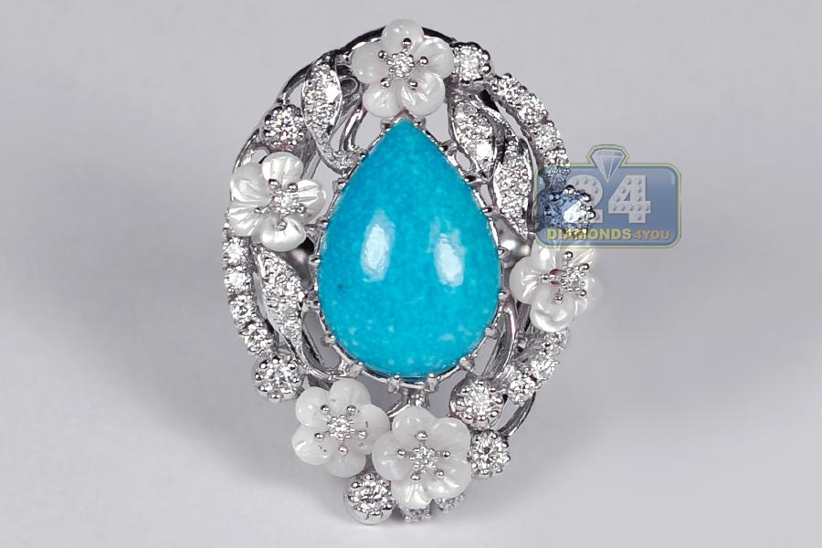 Womens Diamond Blue Turquoise Ring 18k White Gold 0 70 Ct