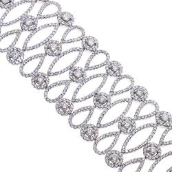 Womens Diamond Wide Bracelet 18K White Gold 17.10 ct 7 inches