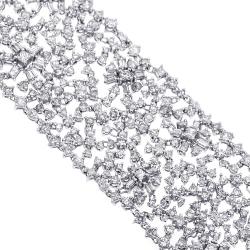 18K White Gold 31.19 ct Diamond Womens Mesh Bracelet 7.5 inches