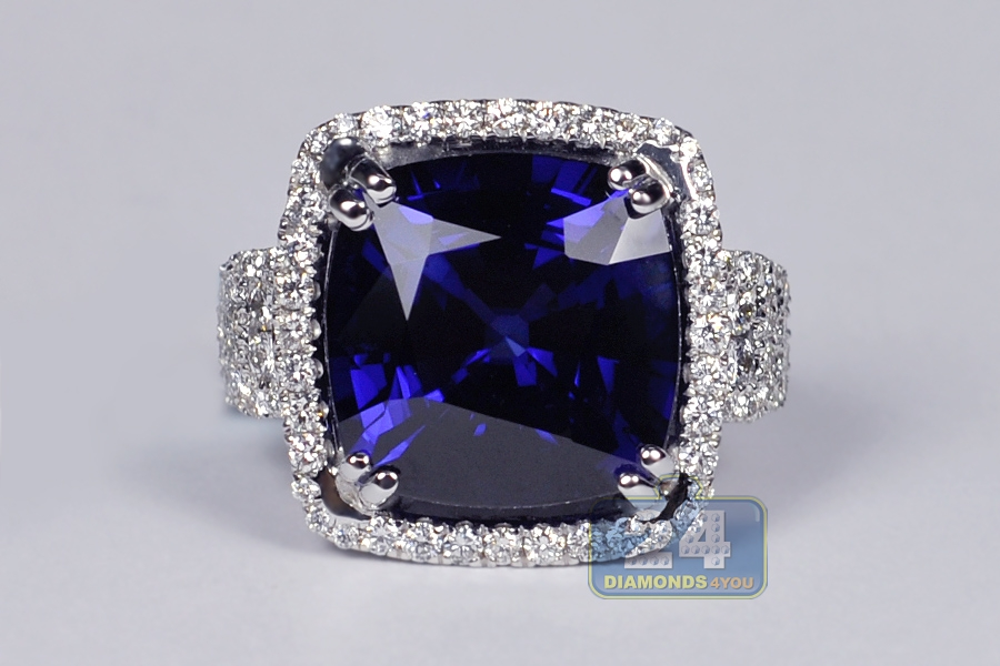 Womens Diamond Blue Sapphire Large Ring 18k White Gold 29