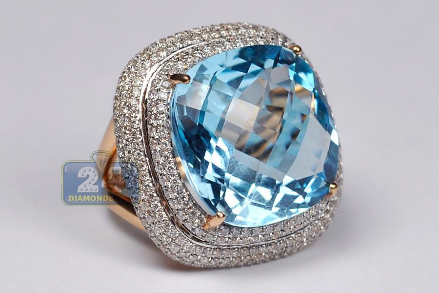 cut gold in cushion ring over halo p white topaz sterling plated silver blue rings
