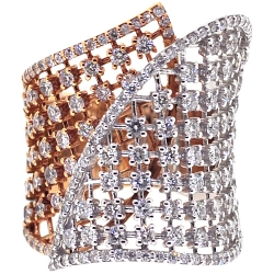 Womens Diamond Lattice Wrap Ring 18K Two Tone Gold 2.66 ct