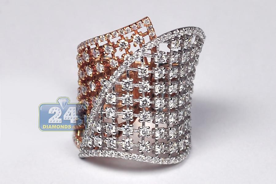Womens Diamond Lattice Wrap Ring 18k Two Tone Gold 2 66 Ct
