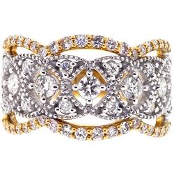 Womens Diamond Openwork Ring 18K Two Tone Gold 1.31 ct