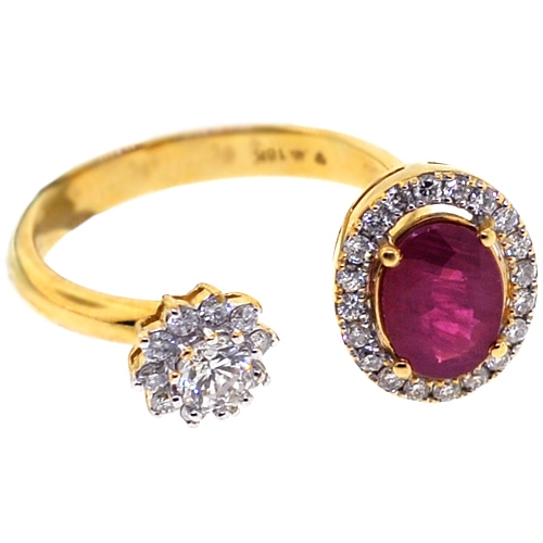 Womens Ruby Diamond Two Stone Open Ring 18k Yellow Gold
