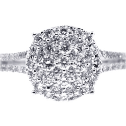 Womens Diamond Cluster Engagement Ring 18K White Gold 1.00 ct