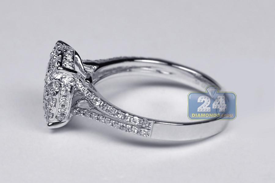Womens Diamond Cluster Engagement Ring 18k White Gold 1 00 Ct