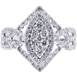 Womens Diamond Cluster Ring 18K White Gold 1.24 ct