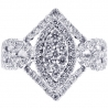 Womens Diamond Cluster Ring 18K White Gold 1.24 ct