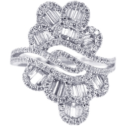 Womens Baguette Diamond Floral Ring 18K White Gold 1.53 ct