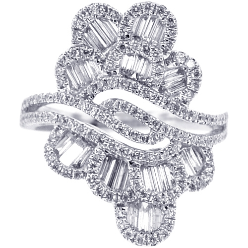 a00050eef6431 Womens Baguette Diamond Floral Ring 18K White Gold 1.53 ct
