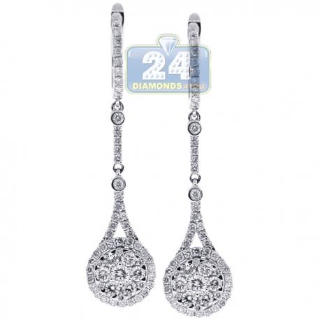 Womens Diamond Teardrop Earrings 18K White Gold 1.44 ct