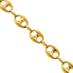 10K Yellow Gold Puffed Mariner Link Mens Chain 10 mm