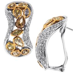 14K Gold 4.66 ct Fancy Yellow Diamond Womens Huggie Earrings