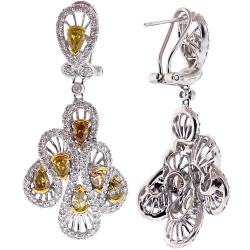 Womens Fancy Yellow Diamond Dangle Earrings 14K Gold 5.57 ct