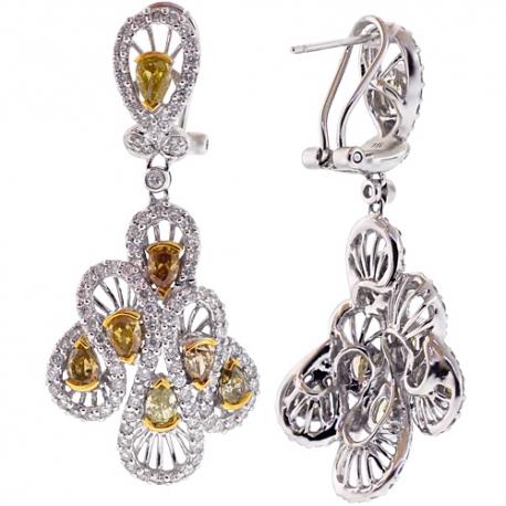 Womens Fancy Yellow Diamond Dangle Earrings 14K Gold 5.57 ct