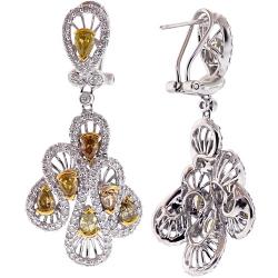 14K White Gold 5.57 ct Fancy Diamond Womens Dangle Earrings