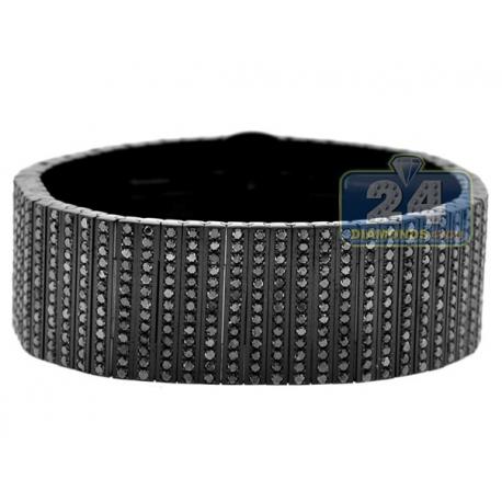 Joe Rodeo Stainless Steel 32.00 ct Black Diamond Bracelet 8.5 Inches
