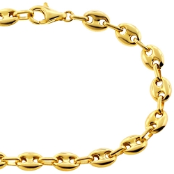 10K Yellow Gold Puffed Mariner Mens Bracelet 7 mm 8 1/2 inches