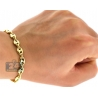 10K Yellow Gold Puffed Mariner Mens Bracelet 7 mm 8.5 inches