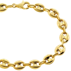 10K Yellow Gold Puff Mariner Mens Bracelet 8 mm 8 1/4 inches