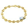 10K Yellow Gold Puff Mariner Anchor Mens Bracelet 8mm 8.25""
