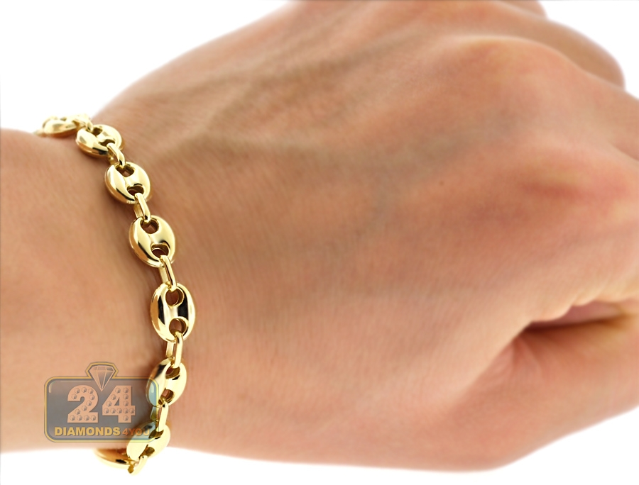 10k Yellow Gold Puff Mariner Anchor Mens Bracelet 8mm 8 25 Quot