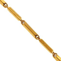10K Yellow Gold Rhomb Bar Link Mens Chain 3 mm