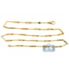 10K Yellow Gold Wave Bar Link Mens Chain 3 mm