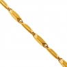 10K Yellow Gold Hollow Rhombus Bar Link Mens Necklace 4 mm