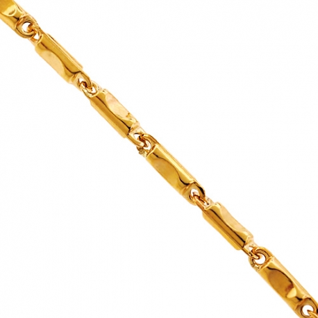 Italian 10K Yellow Gold Pressed Bar Link Mens Chain 3.5 mm