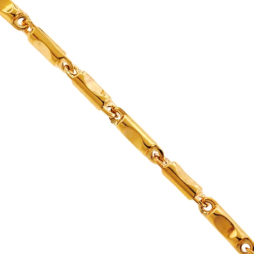 Italian 10k Yellow Gold Pressed Bar Link Mens Chain 3 5 Mm