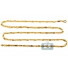 Italian 10K Yellow Gold Hollow Oval Bar Link Mens Chain 3.5mm