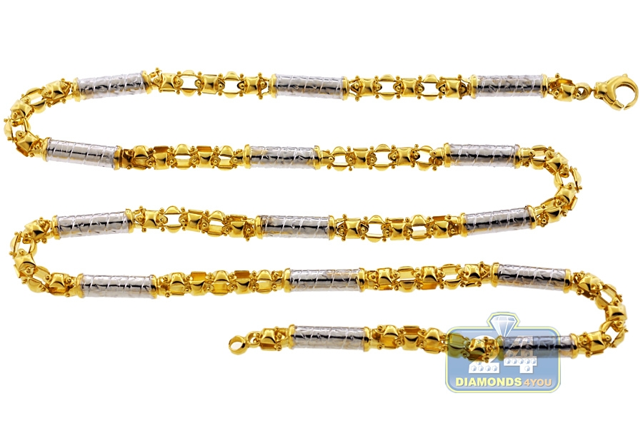 Italian 10k Two Tone Gold Oval Bullet Link Mens Chain 6 Mm