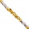 Italian 10K Two Tone Gold Swirl Bullet Mens Necklace 6 mm