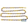 Italian 10K Two Tone Gold Fancy Bullet Link Mens Chain 7 mm