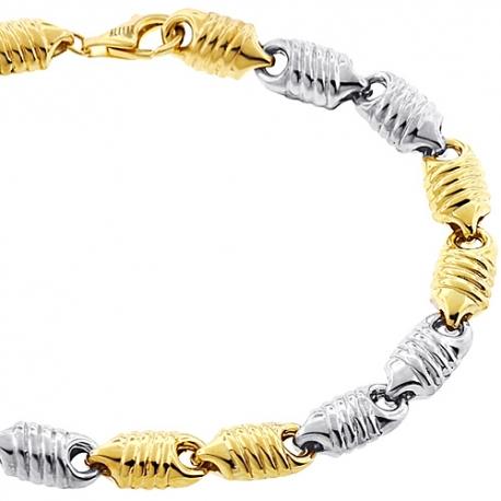 "Real 10K Two Tone Gold Puff Bullet Link Mens Bracelet 7mm 8.75"""