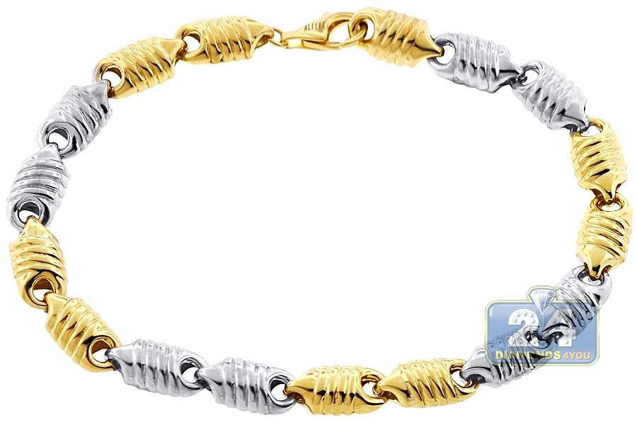 Real 10k Two Tone Gold Puff Bullet Link Mens Bracelet 7mm