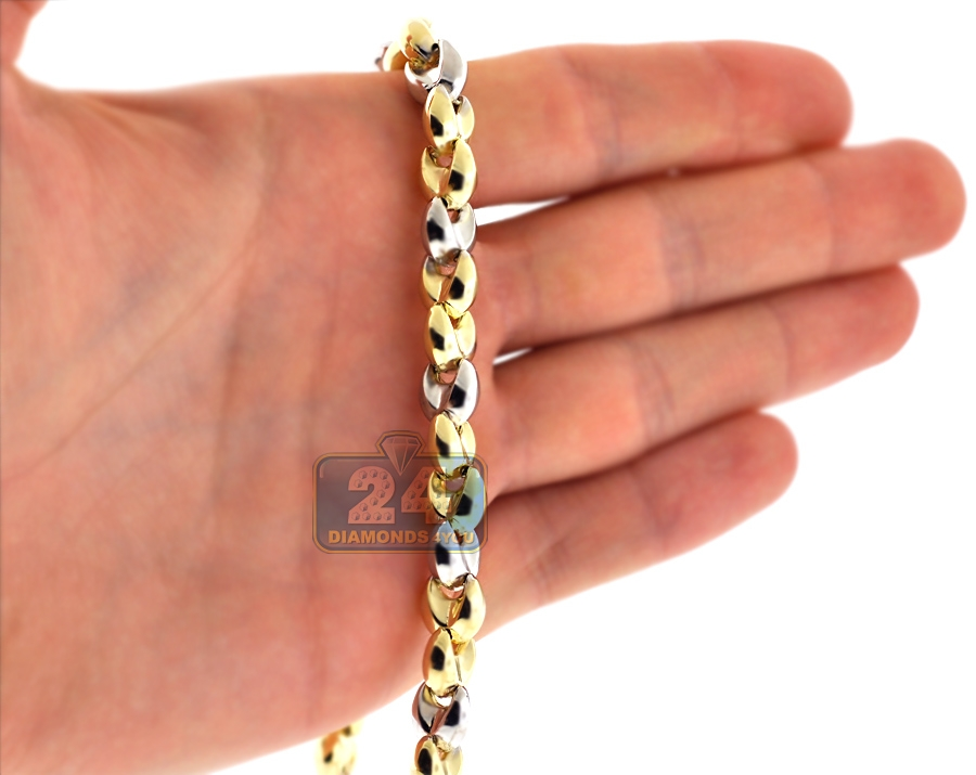 Real 10k Two Tone Gold Puffed Bullet Link Mens Chain 8 5 Mm