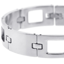 Solid Stainless Steel Section Link Mens Wrist Bracelet 14mm 8""