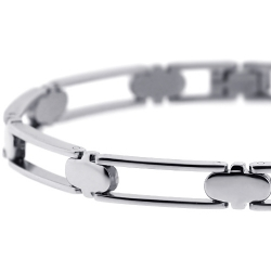 Solid Stainless Steel Open Link Mens Wrist Bracelet 7mm 8.5""