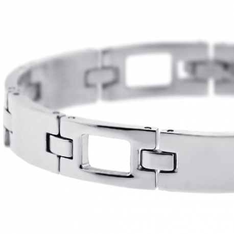 Solid Stainless Steel Section Link Mens Wrist Bracelet 10mm 8""