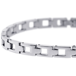 Polished Stainless Steel Link Mens Wrist Bracelet 6mm 8.25""