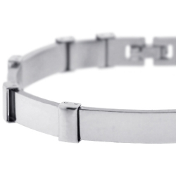 Stainless Steel Bar Link Mens Bracelet 9 mm 8 1/4 inches