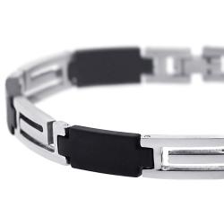 Steel Rubber Greek Key Link Mens Bracelet 8 mm 8 3/4 inches