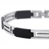"Stainless Steel Rubber Greek Key Link Mens Bracelet 8mm 8.75"""