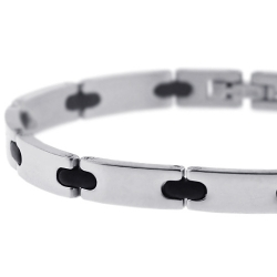 Steel Black Rubber Link Mens Bracelet 6 mm 7 3/4 inches