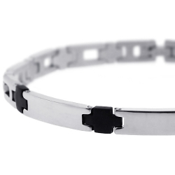Stainless Steel Black Rubber Mens Wrist Bracelet 6mm 8.5""
